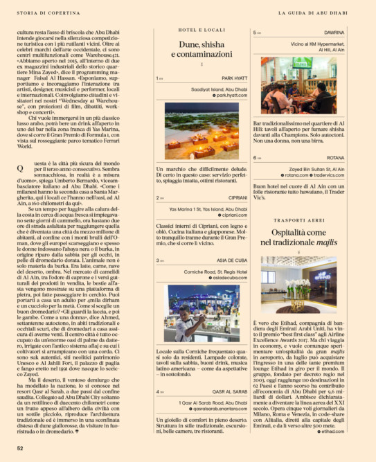 IL - Idee e Lifestyle del Sole 24 ORE (#IL94), September 2017 - Hipster Guide UAE - Text by Enrico Dal Buono, p. 52