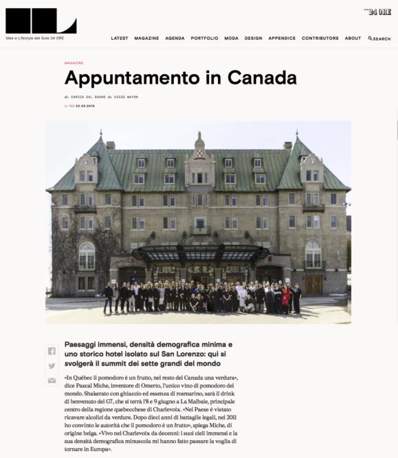 IL Magazine Website, The guides of IL - Appuntamento in Canada - Text by Enrico Dal Buono, May 2018