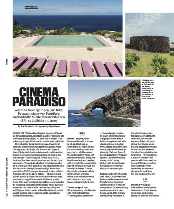 The New York Times Style Magazine - Wanderlust/Pantelleria. September 2018