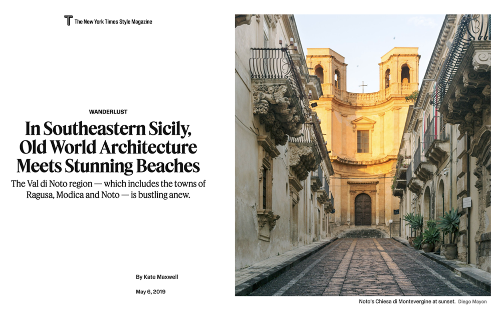 The New York Times Style Magazine Website - Wanderlust/Val di Noto. May 2019
