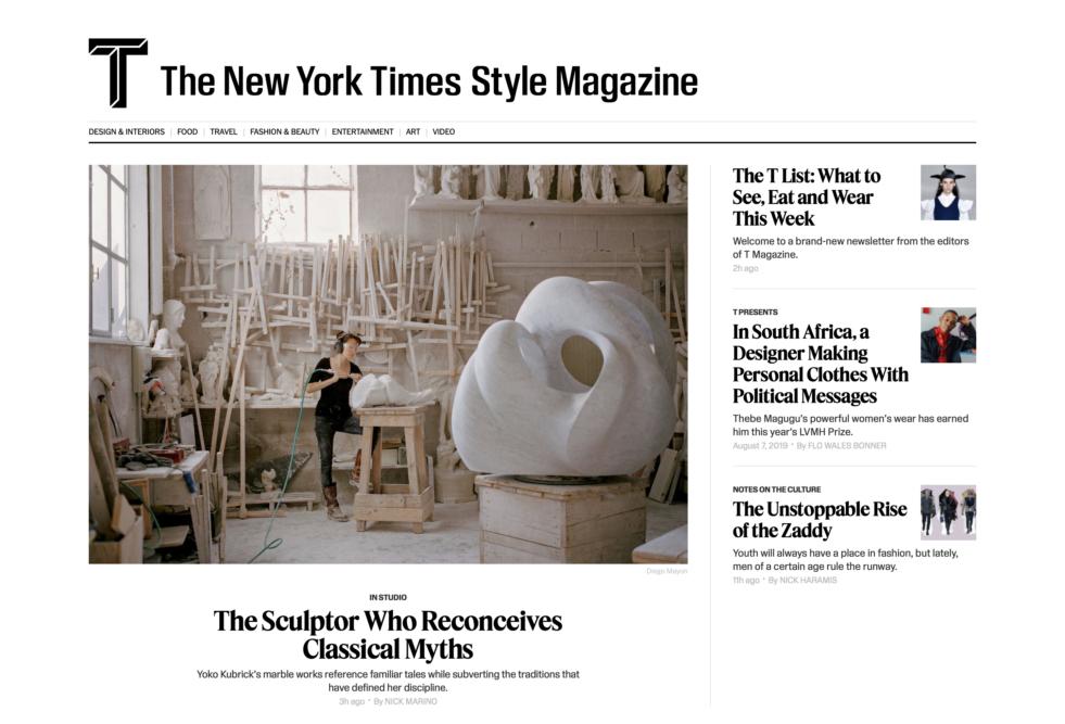 The New York Times Style Magazine Website - Yoko Kubrick Sculptor. September 2019