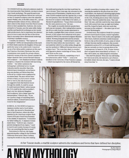 The New York Times Style Magazine - Yoko Kubrick Sculptor. September 2019