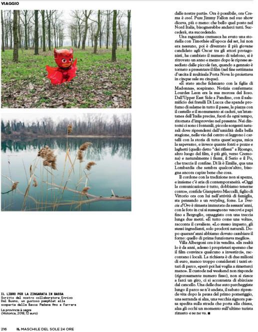 IL - Idee e Lifestyle del Sole 24 ORE (#IL100), April 2018 - La Bassa Padana è uno stato mentale - Text by Mattia Carzaniga, p. 216