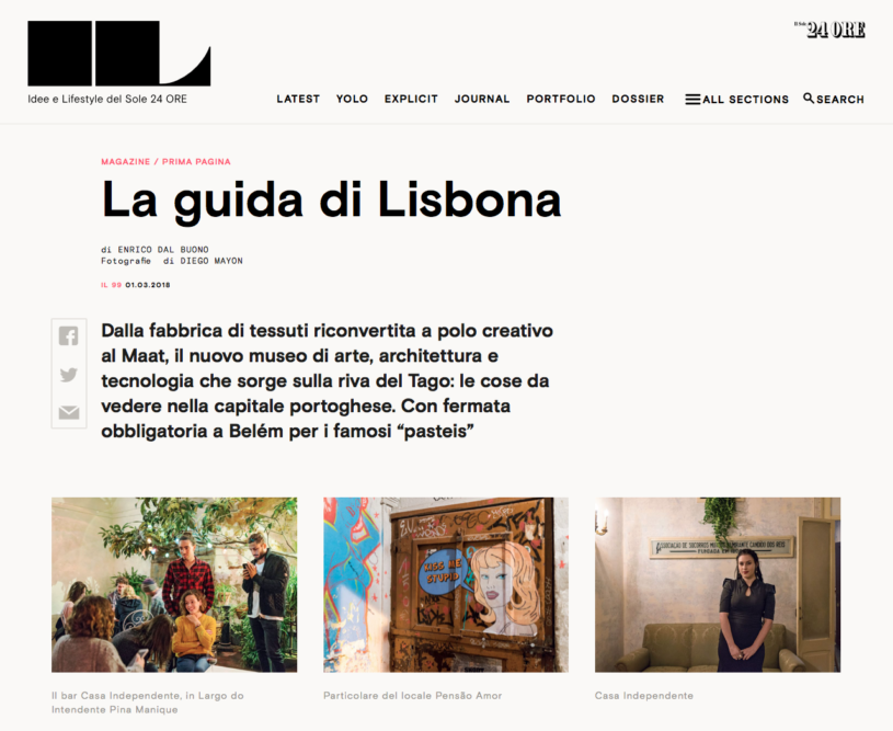 IL Magazine Website, The guides of IL: Lisbon - Text by Enrico Dal Buono, March 2018