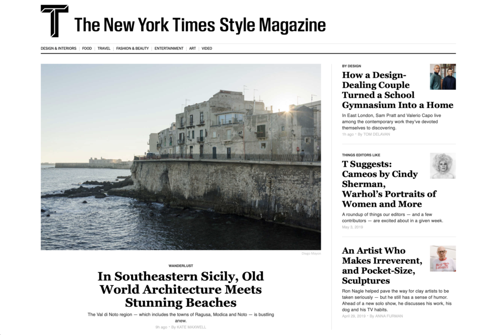 The New York Times Style Magazine Website Homepage - Wanderlust/Val di Noto. May 2019